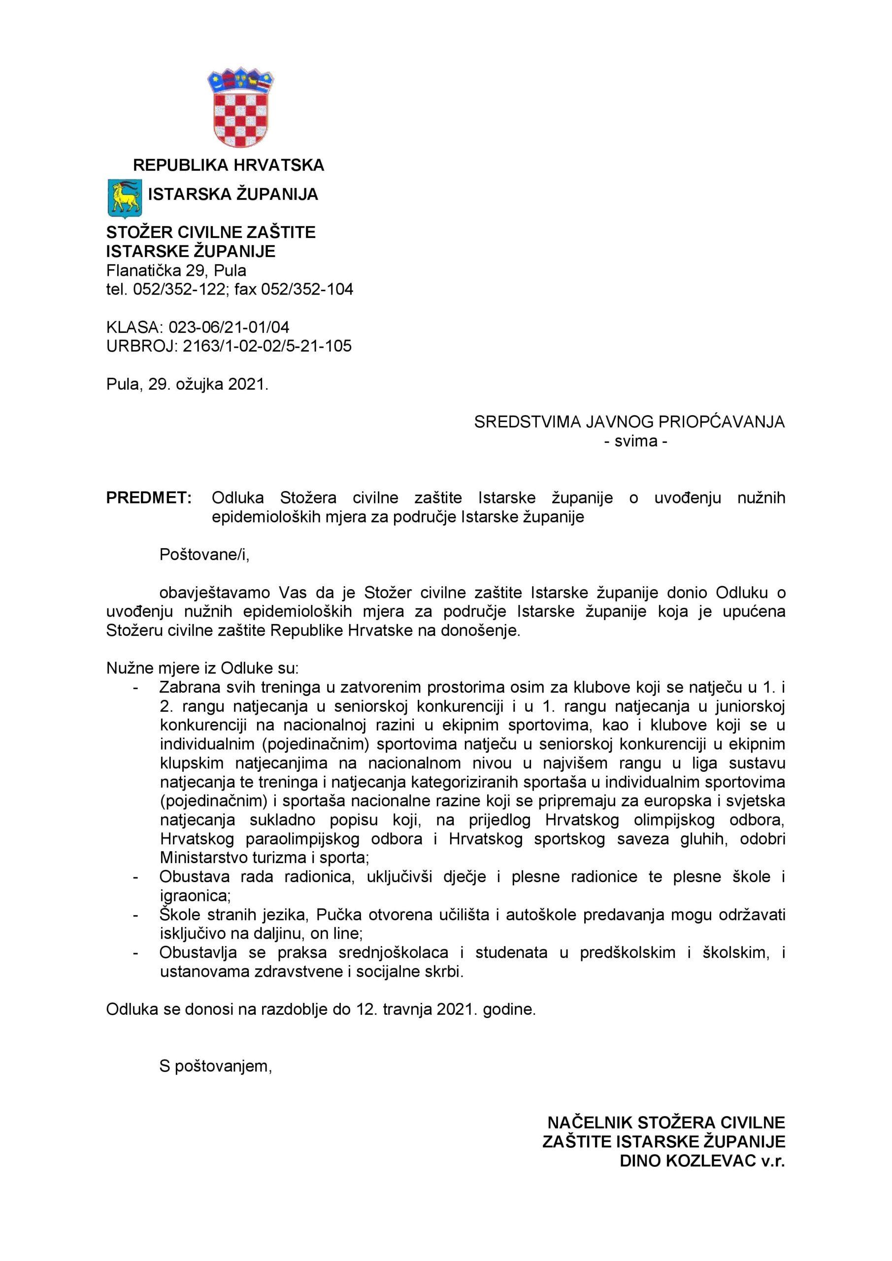 ODLUKA Stožera civilne zaštite Istarske županije o uvođenju nužnih epidemioloških mjera za područje IŽ-converted-page-001